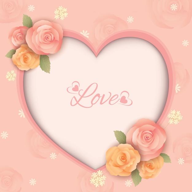 Cornice cuore di rose fiori Vettore Premium