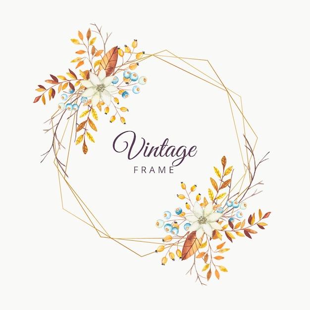 Cornice d'epoca autunno floreale dell'acquerello con bordo oro Vettore Premium