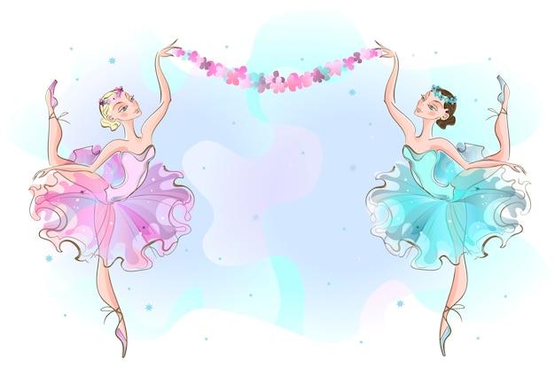 Cornice da cartolina con due ballerine ballerine. Vettore Premium
