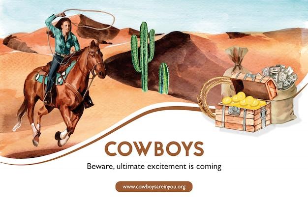 Cornice da cowboy con donna, cavallo, cactus, petto Vettore gratuito