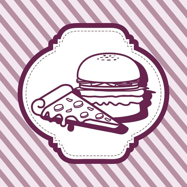 Cornice decorativa con icona hamburger e pizza su sfondo viola a strisce Vettore Premium