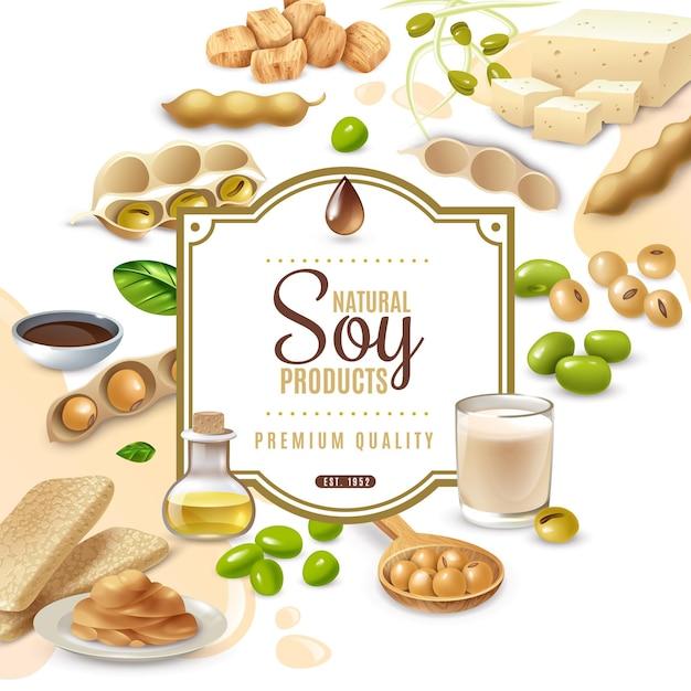 Cornice decorativa con prodotti alimentari di soia su bianco beige Vettore gratuito