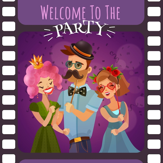 Cornice del film fotografico con invito a una festa Vettore gratuito