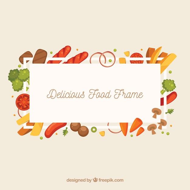 Cornice deliziosa con design piatto Vettore gratuito