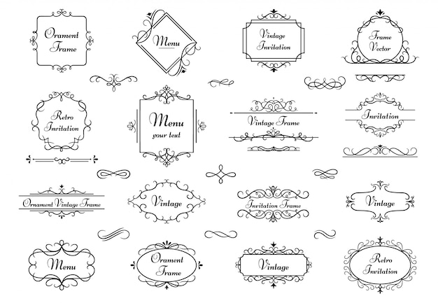 Cornice dell'ornamento della decorazione. strutture araldiche di turbinio di calligrafia, confine elegante decorativo del monogramma e insieme d'annata dell'illustrazione degli elementi di nozze. divisori retrò del libro floreale vittoriano Vettore Premium