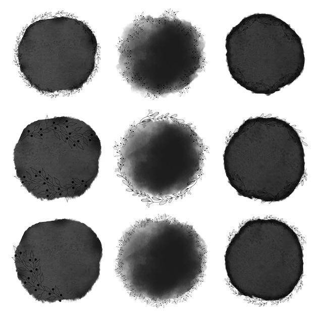 Cornice di acquerello nero stile acquerello doodle linea arte corona Vettore Premium