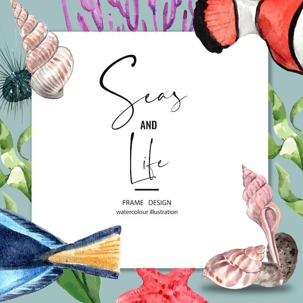 Cornice di confine a tema sealife. vari animali sotto il mare per la decorazione. Vettore gratuito