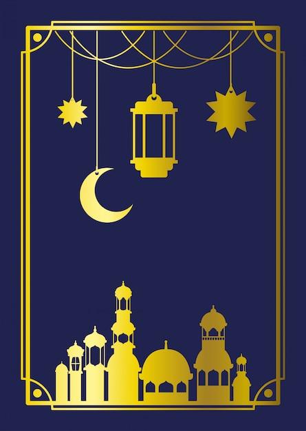 Cornice di eid mubaray con moschea e lampade, luna pendente Vettore Premium