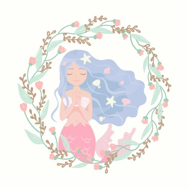 Cornice di fiore personaggio dei cartoni animati sirena Vettore Premium