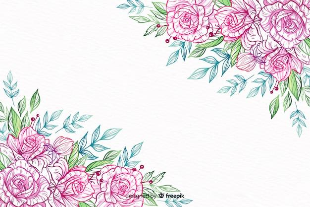 Cornice di fiori decorativi disegnati a mano Vettore gratuito
