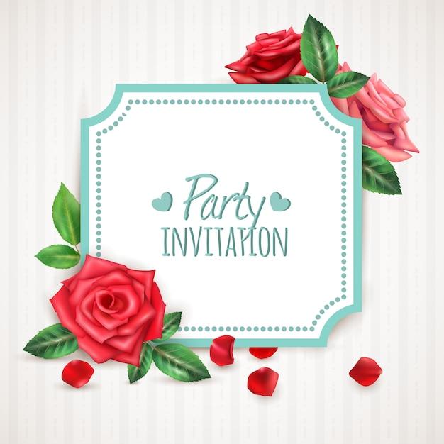 Cornice di fiori di rosa Vettore gratuito