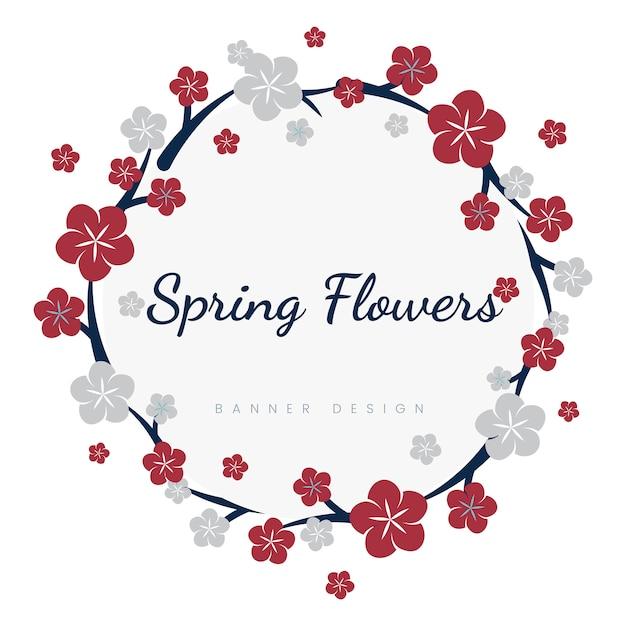 Cornice di fiori giapponesi Vettore gratuito
