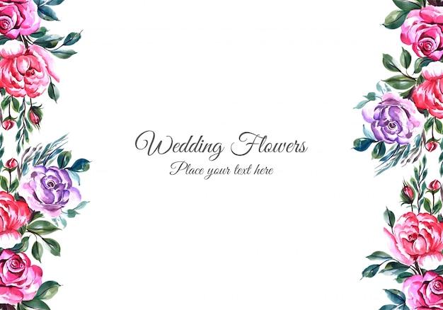 Cornice di fiori incantevoli con modello di carta widding Vettore gratuito