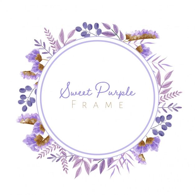 Cornice di foglie e fiori dell'acquerello in tema viola per carta di nozze e altri. Vettore Premium