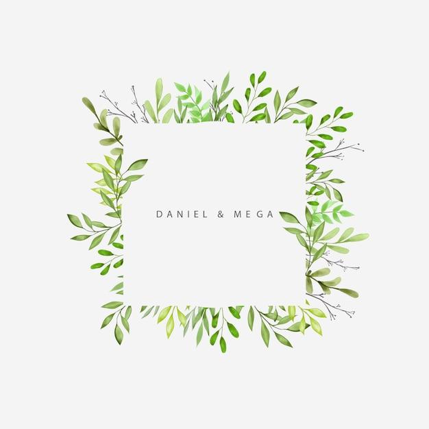 Cornice di foglie verdi e rami per invito a nozze Vettore Premium