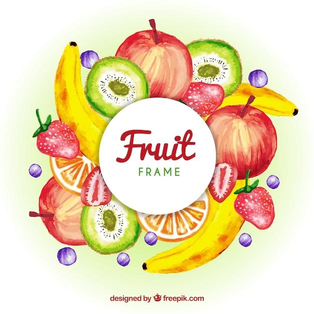 Cornice di frutta dell'acquerello Vettore gratuito
