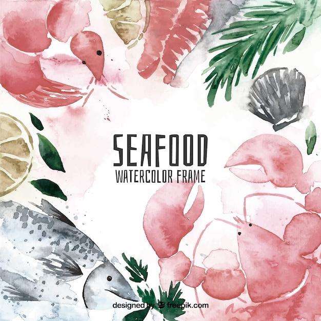 Cornice di frutti di mare ad acquerello Vettore gratuito