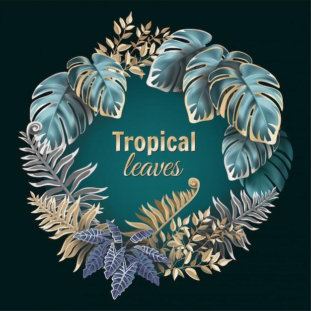 Cornice di giungla con foglie scure di felce e liane. Vettore Premium