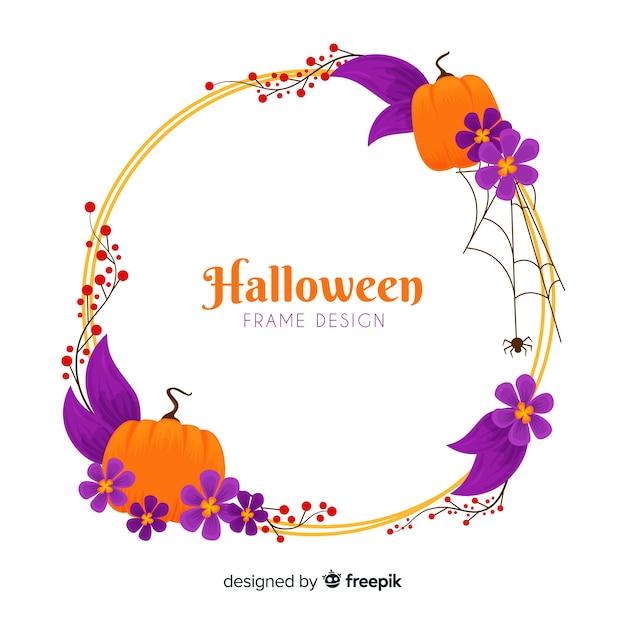Cornice di halloween ad acquerello Vettore gratuito