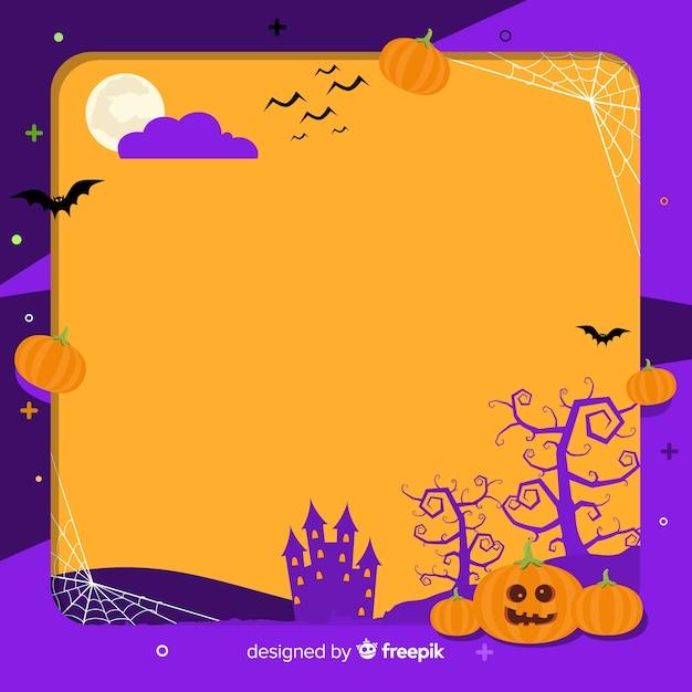 Cornice Di Halloween Raccapricciante Con Design Piatto Scaricare