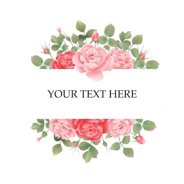 Cornice di invito di nozze con rose Vettore Premium