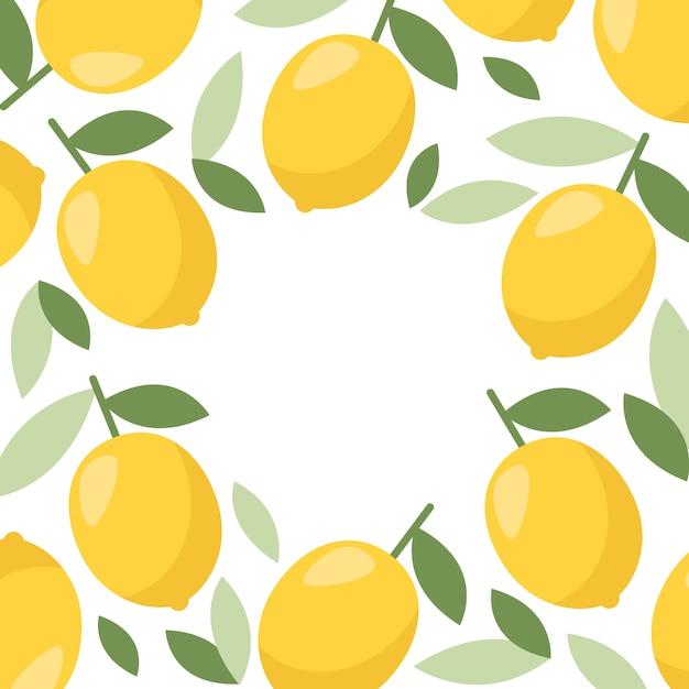 Cornice di limone limonata di agrumi Vettore Premium