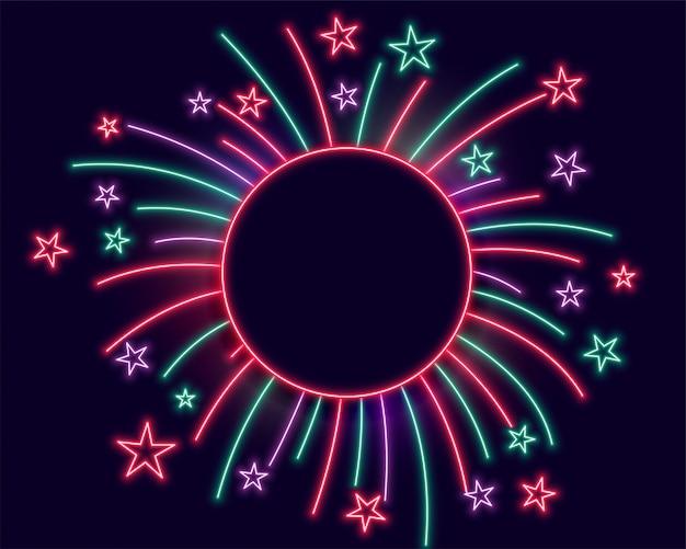 Cornice di luci al neon di fuochi d'artificio con spazio di testo Vettore gratuito