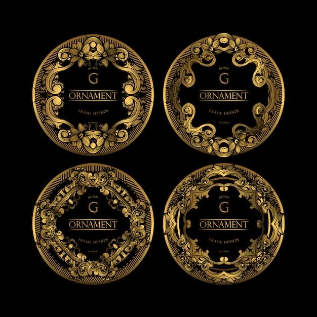 Cornice di lusso con colore dorato Vettore Premium