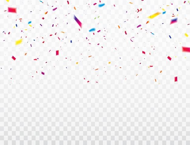 Cornice di nastri confetti celebrazione. biglietto di auguri di lusso ricco. Vettore Premium