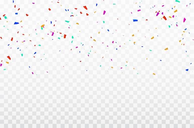 Cornice di nastri confetti celebrazione. Vettore Premium