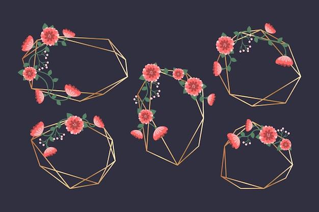 Cornice di nozze con fiori rossi Vettore gratuito