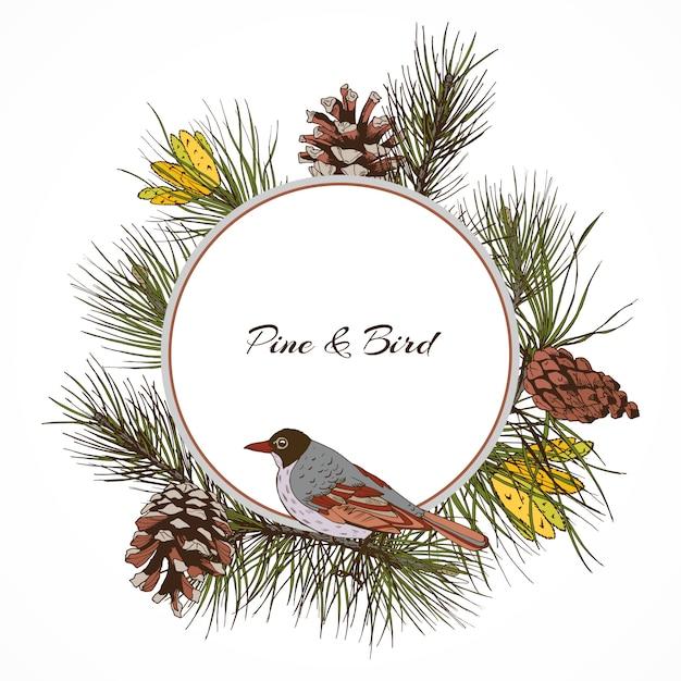 Cornice di ramo di pino uccellino Vettore gratuito