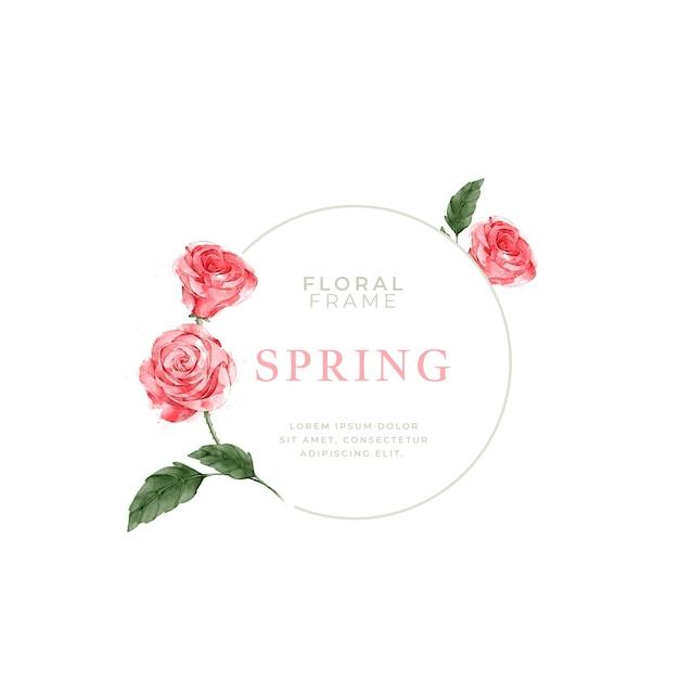 Cornice di rose primavera dell'acquerello Vettore gratuito