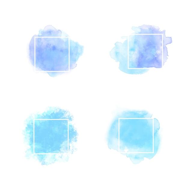 Cornice di testo acquerello blu Vettore Premium