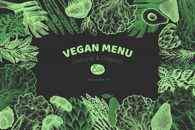 Cornice di verdure verdi Vettore Premium