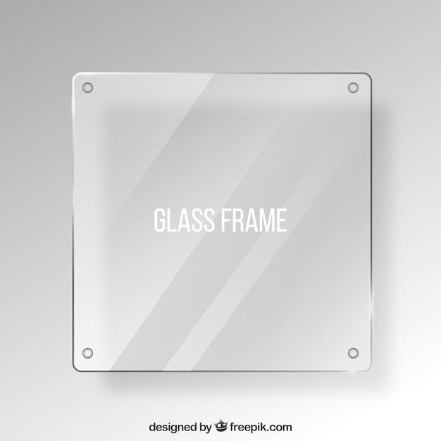 Cornice di vetro in stile realistico Vettore gratuito