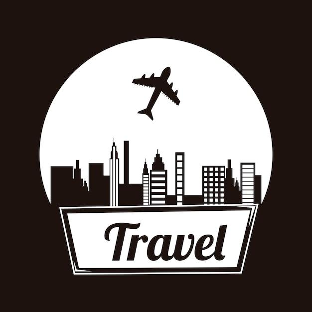 Cornice di viaggio su sfondo nero illustrazione vettoriale Vettore Premium