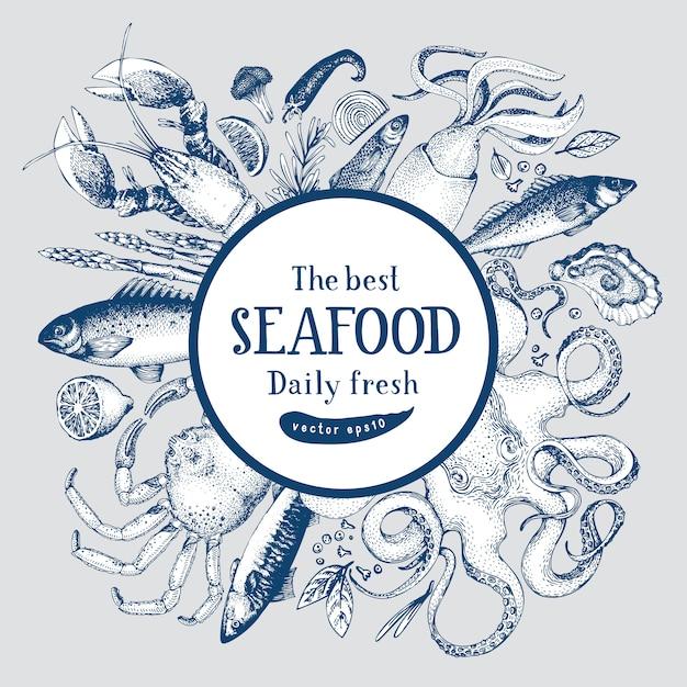 Cornice disegnata a mano con frutti di mare e pesci. Vettore Premium