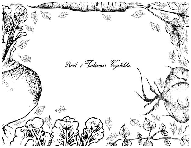 Cornice disegnata a mano di radice e verdure tuberose Vettore Premium