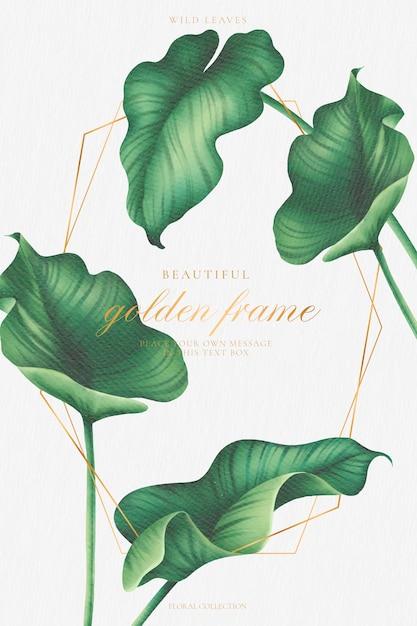 Cornice dorata con bellissime foglie ad acquerelli Vettore gratuito