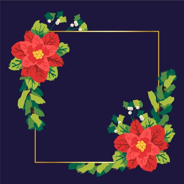 Cornice dorata con fiori d'inverno Vettore gratuito