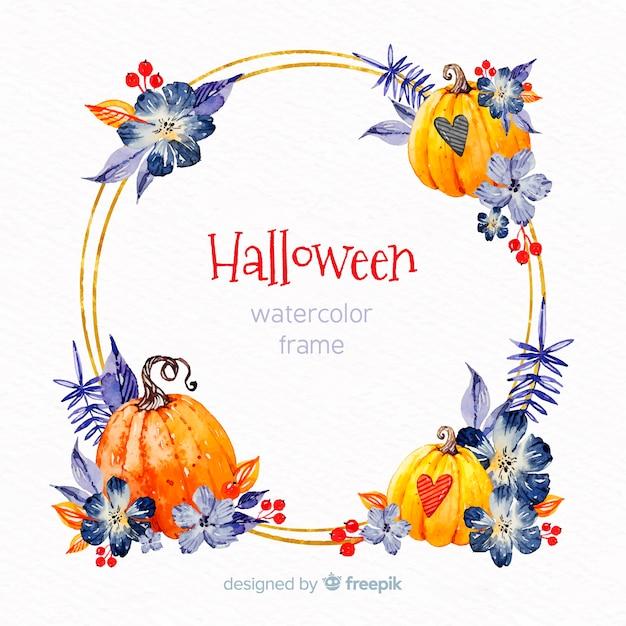Cornice Dorata Di Halloween Con Elementi Dellacquerello Scaricare