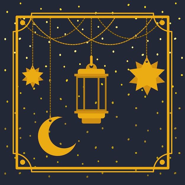 Cornice dorata di ramadan kareem con lampada e luna, stelle sospese Vettore Premium