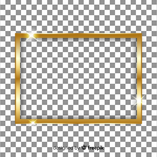 Cornice dorata realistica su sfondo trasparente Vettore gratuito