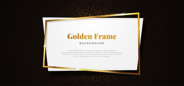 Cornice dorata scintillante con forma di cartoncino bianco su sfondo nero scuro Vettore Premium