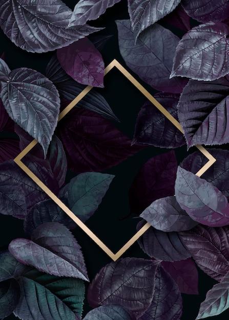 Cornice dorata sulle foglie Vettore Premium