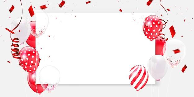 Cornice e coriandoli di palloncini bianchi rossi Vettore Premium
