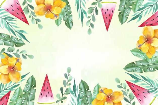 Cornice floreale acquerello estate sfondo Vettore gratuito