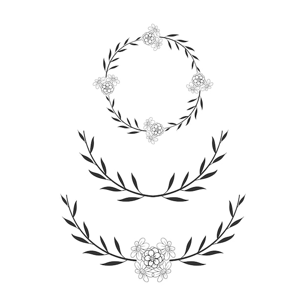 Cornice floreale cerchio ghirlanda di nozze semplice Vettore Premium