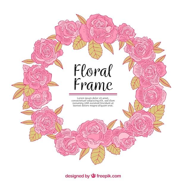 Cornice floreale colorato con stile disegnato a mano Vettore gratuito
